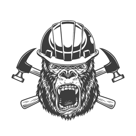 Ferocious gorilla head in builder helmet with crossed hammers in vintage monochrome style isolated vector illustration Illustration