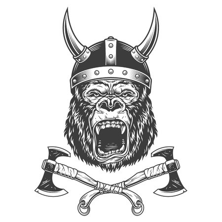 Ferocious gorilla head in viking helmet with crossed axes in vintage monochrome style isolated vector illustration