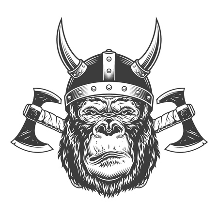 Vintage monochrome serious gorilla head in horned viking helmet with crossed axes isolated vector illustration Иллюстрация
