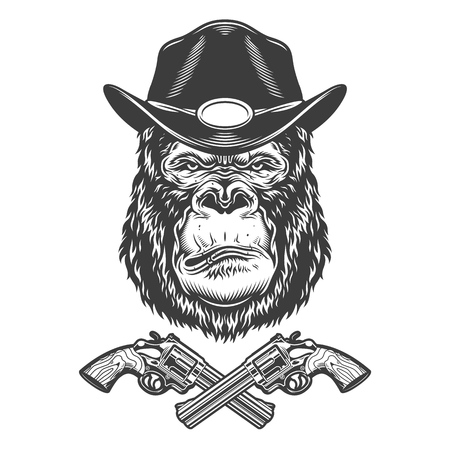 Serious gorilla head in sheriff hat with crossed pistols in vintage monochrome style isolated vector illustration