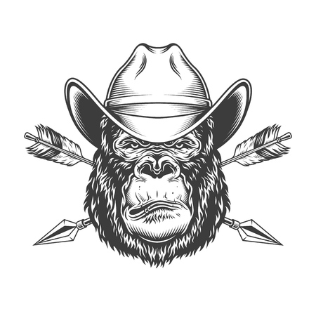 Serious gorilla head in cowboy hat with crossed arrows in vintage monochrome style isolated vector illustration