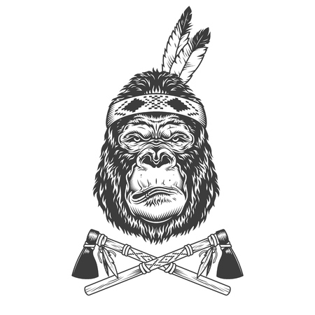 Vintage monochrome serious gorilla head with feathers and crossed tomahawks isolated vector illustration