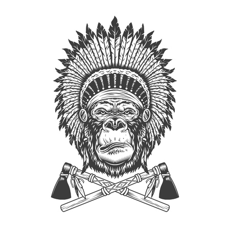 Vintage monochrome serious gorilla head with native american indian chief headwear and crossed tomahawks isolated vector illustration