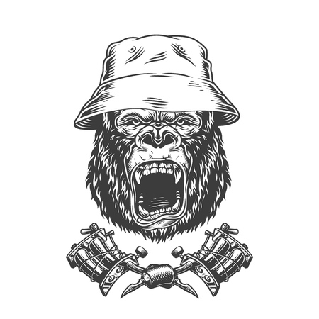 Ferocious gorilla head in panama hat with crossed tattoo machines in vintage monochrome style isolated vector illustration 写真素材 - 118472498