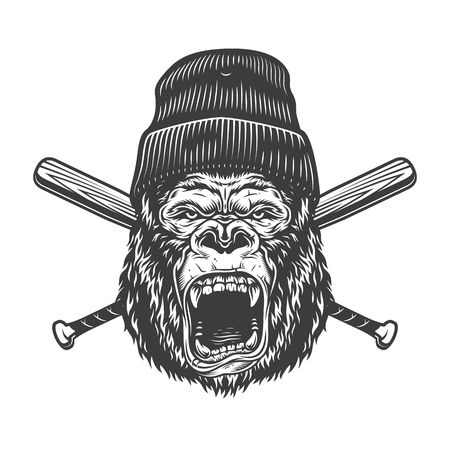 Vintage angry gorilla head in beanie hat with crossed baseball bats isolated vector illustration Illustration
