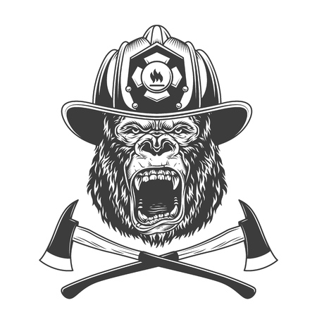 Ferocious gorilla head in firefighter helmet with crossed axes in vintage monochrome style isolated vector illustration