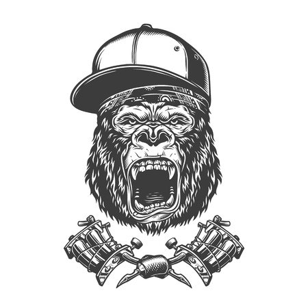 Vintage ferocious gorilla head in baseball cap and bandana with crossed tattoo machines isolated vector illustration Foto de archivo - 118472522
