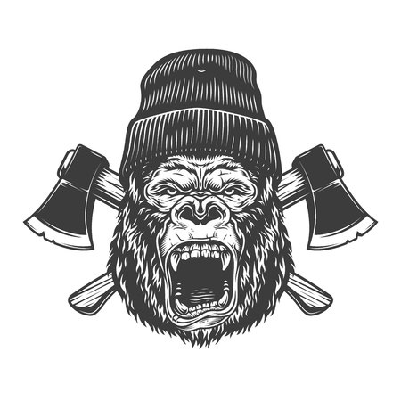 Angry gorilla head in lumberjack hat with crossed axes in vintage monochrome style isolated vector illustration