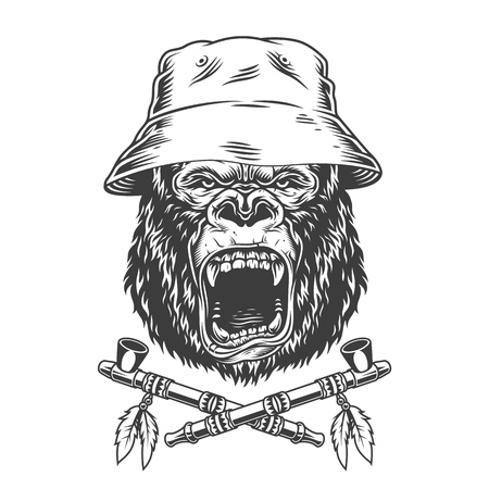 Angry gorilla head in panama hat with crossed native american indian smoking pipes in vintage monochrome style isolated vector illustration