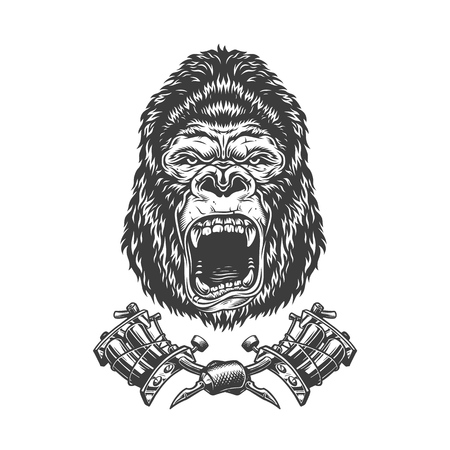 Vintage monochrome angry gorilla head with crossed tattoo machines isolated vector illustration 版權商用圖片 - 118472539