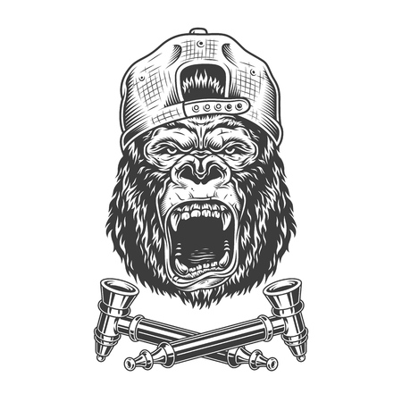 Angry gorilla head in hipster cap with crossed smoking pipes in vintage monochrome style isolated vector illustration