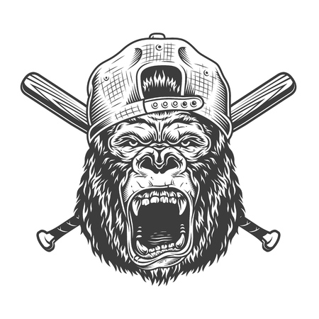 Vintage angry gorilla head in cap with crossed baseball bats in monochrome style isolated vector illustration