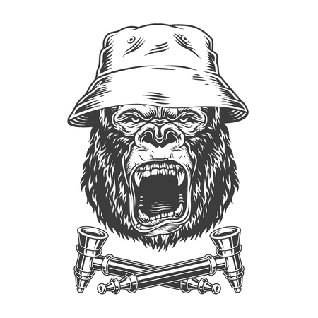 Ferocious gorilla head in panama hat with crossed smoking pipes in vintage monochrome style isolated vector illustration