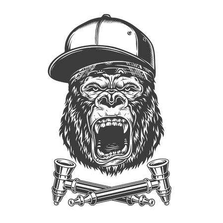 Vintage monochrome angry gorilla head in baseball cap and bandana with crossed smoking pipes isolated vector illustration
