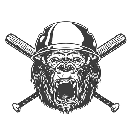 Angry gorilla head in baseball helmet with crossed bats in vintage monochrome style isolated vector illustration