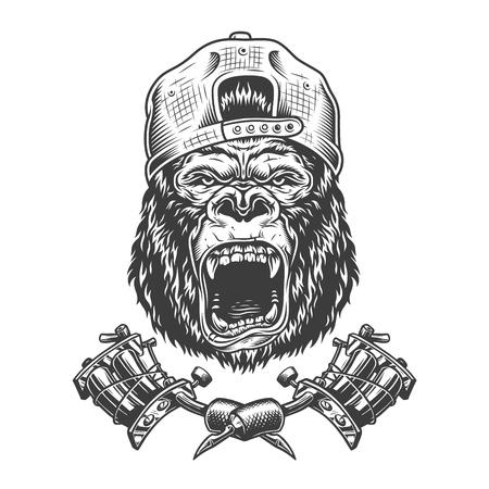 Vintage ferocious gorilla head in cap with crossed tattoo machines isolated vector illustration Çizim