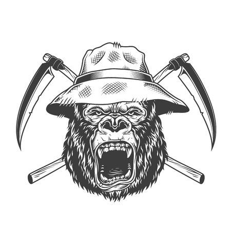 Ferocious gorilla head in panama hat with crossed scythes in vintage monochrome style isolated vector illustration
