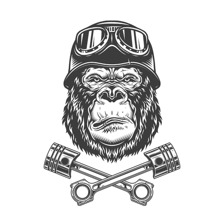Vintage monochrome serious gorilla head in biker helmet and goggles with crossed engine pistons isolated vector illustration