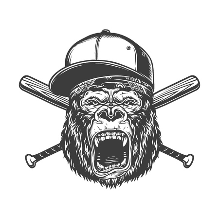 Vintage monochrome ferocious gorilla head in baseball cap and bandana with crossed bats isolated vector illustration Illustration