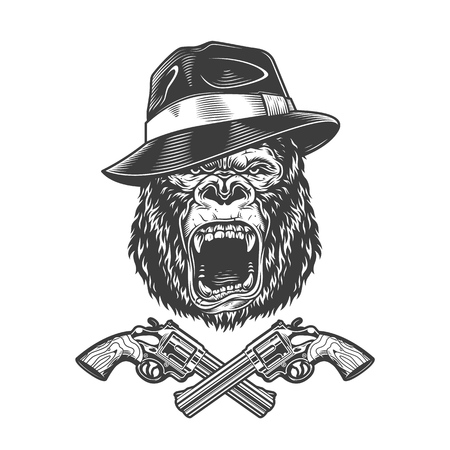 Angry gorilla head in fedora hat with crossed pistols in vintage monochrome style isolated vector illustration Illustration