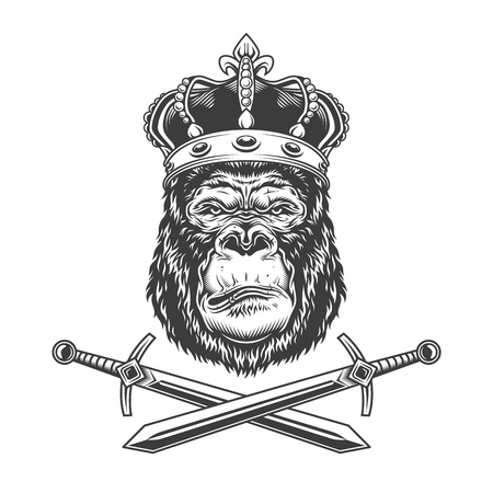 Serious gorilla head in royal crown with crossed swords in vintage monochrome style isolated vector illustration