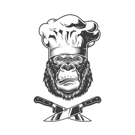 Serious gorilla head in chef hat with crossed knives in vintage style isolated vector illustration Illustration