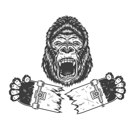 Angry gorilla holding broken skateboard in vintage monochrome style isolated vector illustration