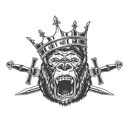 Ferocious gorilla king head in crown with crossed daggers in vintage monochrome style isolated vector illustration