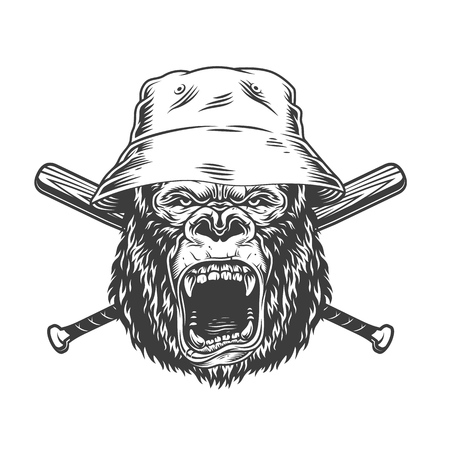 Angry gorilla head in panama hat with crossed baseball bats in vintage monochrome style isolated vector illustration