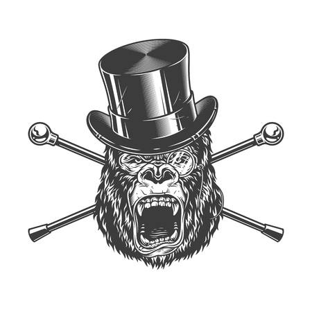 Ferocious gorilla head in cylinder hat with pence-nez and crossed walking sticks in vintage monochrome style isolated vector illustration