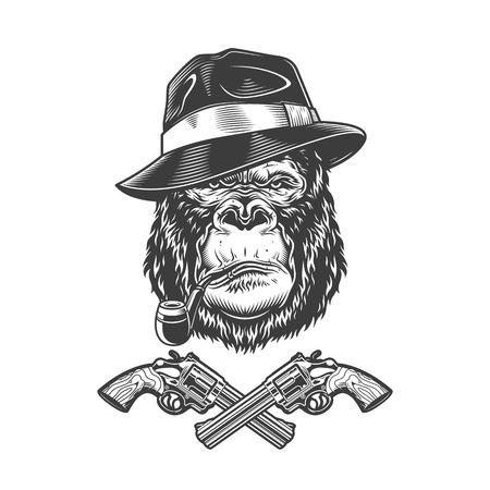 Vintage monochrome serious gangster gorilla head in fedora hat smoking pipe with crossed revolvers isolated vector illustration Illustration