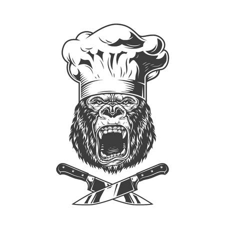 Vintage angry chef gorilla head with crossed knives in monochrome style isolated vector illustration  イラスト・ベクター素材