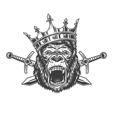 Angry gorilla head in royal crown with crossed swords in vintage monochrome style isolated vector illustration Ilustração
