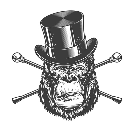 Serious gorilla head in cylinder hat with crossed canes in vintage monochrome style isolated vector illustration Illustration