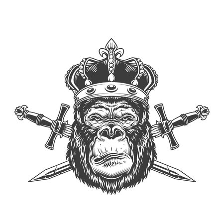 Vintage serious gorilla head in crown with crossed swords in monochrome style isolated vector illustration Illustration