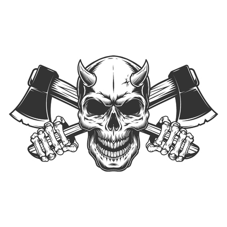 Vintage monochrome demon skull with horns and skeleton hands holding crossed axes isolated vector illustration