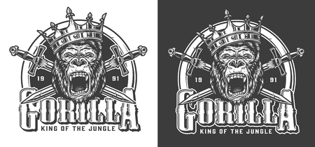 Angry gorilla in crown vintage label with crossed swords in monochrome style isolated vector illustration