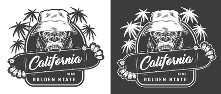 Vintage skateboarding sport emblem with gorilla in panama hat holding skateboard in monochrome style isolated vector illustration 向量圖像
