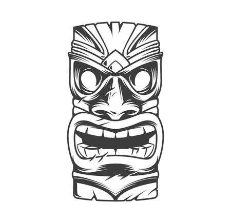 La maschera tiki tribale tradizionale hawaiana in stile vintage monocromatico ha isolato l'illustrazione vettoriale Vettoriali