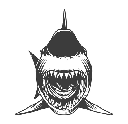 Angry shark front view template in vintage monochrome style isolated vector illustration