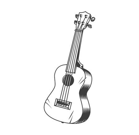 Il concetto di ukulele di strumento musicale hawaiano in stile monocromatico vintage ha isolato l'illustrazione vettoriale