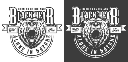 Angry aggressive bear head label with inscriptions in vintage monochrome style isolated vector illustration Illusztráció