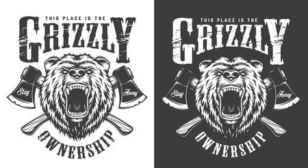 Etiqueta de cabeza de oso enojado monocromo vintage con ejes cruzados aislados ilustración vectorial