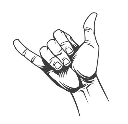 Il concetto del segno della mano di shaka o del surfista nell'illustrazione di vettore isolata stile monocromatico dell'annata Vettoriali