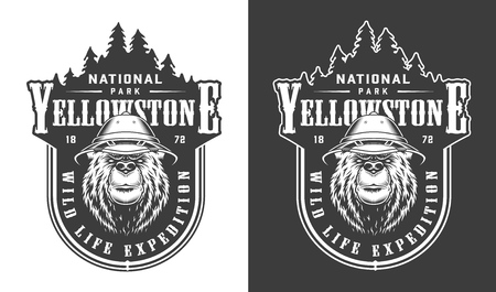 Vintage Yellowstone national park label with serious bear in safari hat in monochrome style isolated vector illustration Illustration