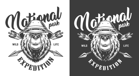 National park monochrome print with crossed arrows and serious bear wearing safari hat in vintage style isolated vector illustration Illustration