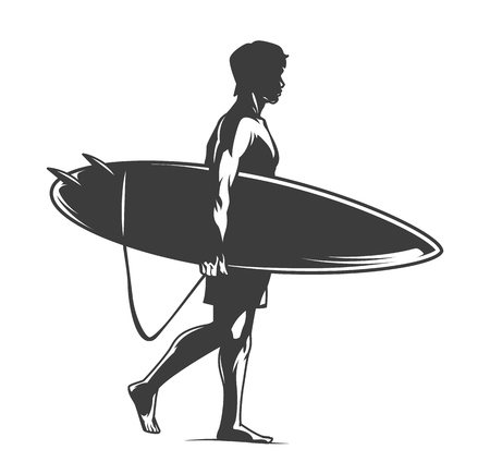 Surfer holding surfboard in vintage monochrome style isolated vector illustration Stock Illustratie