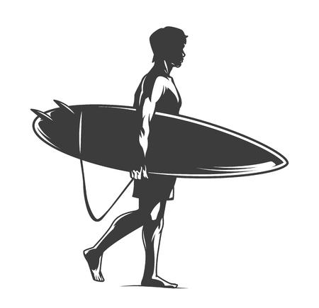 Surfista che tiene la tavola da surf in stile monocromatico vintage isolato illustrazione vettoriale