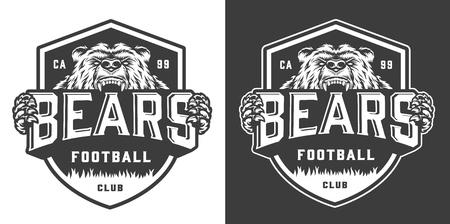 Vintage monochrome football team mascot emblem with angry ferocious bear isolated vector illustration Stock Illustratie