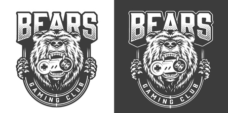 Vintage monochrome gaming club emblem with angry bear keeps joystick in his mouth isolated vector illustration Stock Illustratie